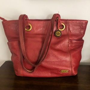 The Sak burgundy leather tote bag w/printed liner